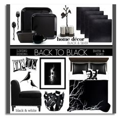 """""""Back to Black Home & Living"""" by nonniekiss ❤ liked on Polyvore"""
