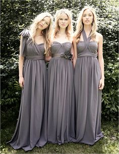Jenny Yoo convertible bridesmaid dresses from Nordstrom. These are a little pricey, but something like this could be cool cause then you could all wear it the way you want and you would be able to re wear it any way too!