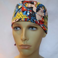 on sale 96e61 83b2d WONDER WOMAN Surgical scrub hat operating room hat theatre cap tie in back  superhero sweatpad