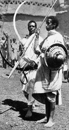 Eritrean Tigrinya tribe warriors in traditional dress, ca 1935