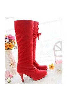$25.99 Velvet Upper Lace Up Decor The Knee Boots @MayKool