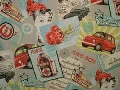 Juke Box printed fabric sold on the roll @Decoporium