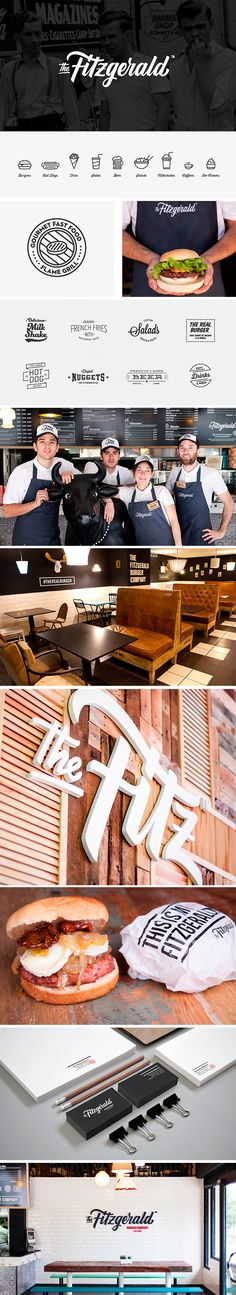 identity / the fitzgerald burger co logo design branding Corporate Design, Brand Identity Design, Graphic Design Branding, Corporate Identity, Web Design, Food Design, Restaurant Identity, Restaurant Design, Food Branding