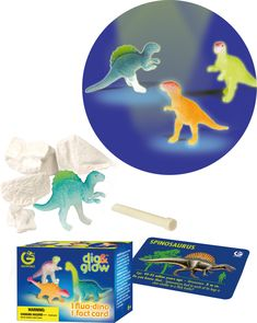 """Dig & Glow Fluorescent Dinosaurs Description Box Measures approx. 2.5″ x 3.25″ Contains Plaster block of """"Matrix"""" and digging tool There are 12 different Dinosaurs that you can collect If you buy MULTIPLE kits we will do our best to make sure you get DIFFERENT Dinosaurs with your order Dinosaur Toys For Kids, Digging Tools, Spinosaurus, Prehistoric, Plaster, Fossils, Dinosaur Stuffed Animal, Glow, Kit"""