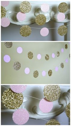 Glitter Paper Garland Gold and Pink  (Could be black instead of pink!)