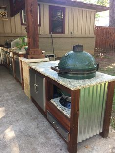 Big Green Egg Table Deck Kitchen Ideas, Diy Outdoor Kitchen, Outdoor Decor, Big Green Egg Table, Green Eggs, Patio Grill, Table Plans, Outdoor Living, Bbq