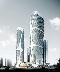 Futuristic Architecture, Skyscraper, Tower, amphibianArc / Foshan New City Mass Transit Center