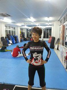 Takako Sensei from Ladies Kickboxing at Capoeira Academy Okinawa.