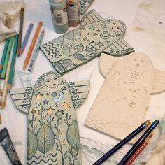 Angel, Handmade Ceramic Angel, Home Decor, wall art, stars, moon