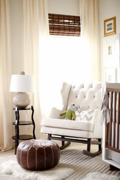 Love this rocking chair. ottoman, and lamp. I love lamp. and table and curtains.