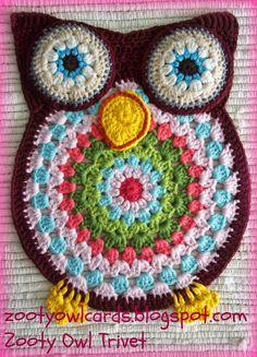 crochelinhasagulhas: Mandala de crochê em forma de coruja