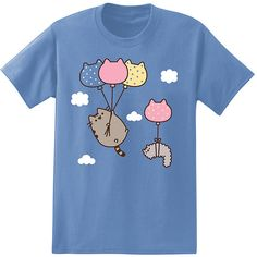 Pusheen the Cat Blue Balloon Float Pusheen Tee (17 AUD) ❤ liked on Polyvore featuring tops, t-shirts, blue cotton t shirts, cat tops, cat t shirt, cat print top and blue tee