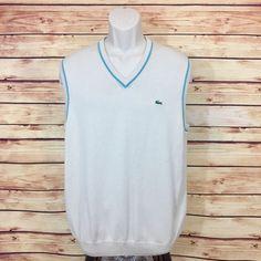 LACOSTE Beige V-neck Sweater Vest Light Blue Trim Mens (Sz 5) Medium Cotton EUC  | eBay