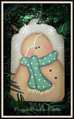 Gingerbread Wood Hang Tag Holiday Ornament by Primgal on Etsy