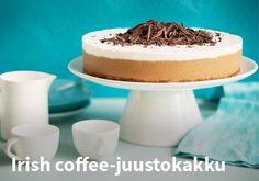 Irish coffee-kakku, Resepti: Valio #kauppahalli24 #pääsiäinen #ruoka #resepti #kakku Irish Coffee, Christmas Baking, Cheesecake, Sweet, Food, Banana Bread, Kitchen, Diy, Baking Center