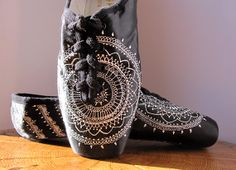 Mehndi Pointe Shoes Black and White Hand Dyed by KiteFlyerArt, $90.00