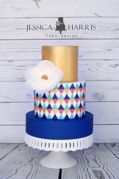 Modern Triangles Cake Template - 2 Designs (FREE!) - Jessica Harris Cake Design
