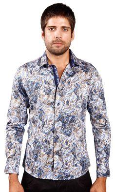 ARTFFEL Men Slim Nightclub Floral Long Sleeve Button Down Shirts Tops