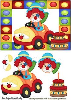 LITTLE CLOWN IN HIS JOLLY CAR WITH BIRTHDAY CAKE on Craftsuprint - Add To Basket!