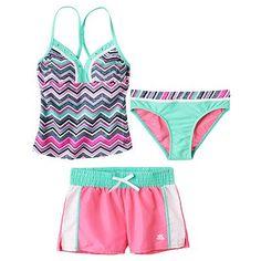 ZeroXposur Chevron 3-pc. Tankini Swimsuit Set - Girls 7-16