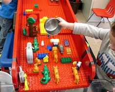 Duplo ramp for the water table - another fab idea from the Sand and Water Tables blog