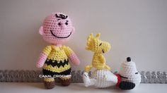 Free crochet pattern for Charley Brown and Woodstock by Canal Crochet
