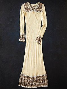 Vintage 80s Embroidered Maxi Dress