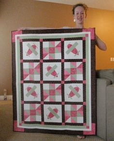 Airplane Baby Quilt PATTERN  PDF  Boy or Girl  by pixieharmony