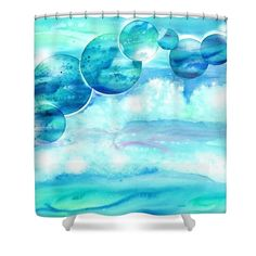 Blue ocean shower curtain from original watercolor painting by Sabina von Arx Save our oceans shower Coastal Bathroom Decor, Ocean Home Decor, Ocean Shower Curtain, Save Our Oceans, Ocean House, Curtains For Sale, Curtains With Rings, Decoration, Deep