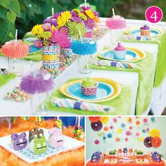 This setting would be way cute for a girls party,Cupcakes baked in cups and placed on each person's table setting,