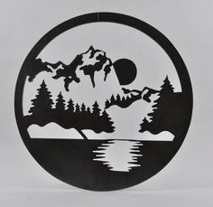 Metal Wall Art Mountains by WrightWayMetalFab on Etsy Metal Artwork, Metal Wall Art, Stencil Art, Stencils, Shadow Light Box, Cnc, Deer Head Silhouette, Plasma Cutter Art, Record Crafts