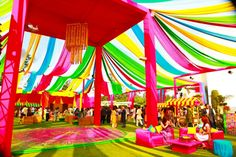 Colorful tent for the Mehendi/Engagement Ceremony