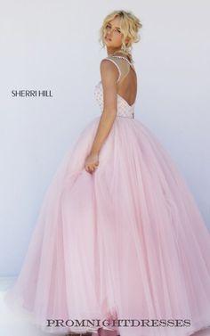 Pink Sherri Hill 50008 Beaded Tulle Prom Dress