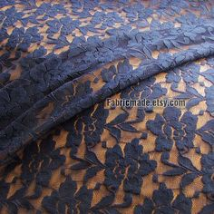 Navy blue Lace Fabric Dark Blue Floral Lace Gauze by fabricmade, $16.80