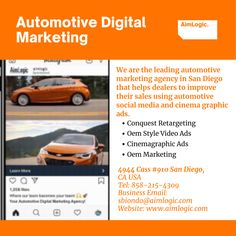 Are you searching for automotive digital marketing in the USA? We are the leading automotive marketing agency in San Diego that helps dealers to improve their sales using automotive social media and cinema graphic ads. OUR SERVICES Conquest Retargeting Oem Style Video Ads Cinemagraphic Ads Oem Marketing Searching, Oem, San Diego, Digital Marketing, Cinema, Social Media, Style, Swag, Movies