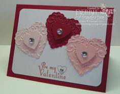 Double-layered framelits hearts, Stampin' Up! products by Debbie Henderson, Debbie's Designs