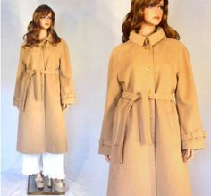 Vtg 70's Cashmere Wool Blend Mod Sculpted Belted Spy Trench Dress Coat SML