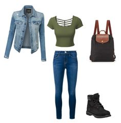 """""""Camp"""" by sammy-uribe on Polyvore featuring Frame, LE3NO, Timberland and Longchamp"""
