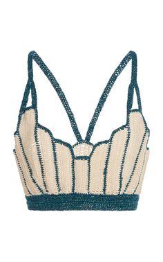 Sea Shell Deco Crochet Top by Anna Sui Mode Crochet, Diy Crochet, Crochet Designs, Crochet Patterns, Como Fazer Short, Crop Top Pattern, Bikini Pattern, Bikinis Crochet, Crochet Crop Top