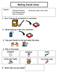"""Making Snow Inside (FREEBIE!).  Free visual directions for making """"snow."""""""