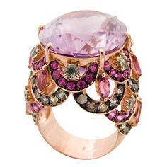 Large Oval Amethyst and Ruby Ring.
