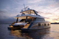 The 60 Sunreef Power is a versatile and modern motoryacht offering extreme comfort, seaworthiness and complete freedom for customization. Yacht Design, Boat Design, House Yacht, Sunreef Yachts, Wooden Speed Boats, Wooden Boats, Yatch Boat, Ski Nautique, Power Catamaran
