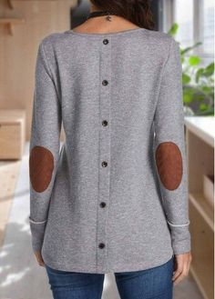Grey Long Sleeve Patchwork T Shirt