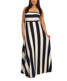 This J-Mode USA Los Angeles Navy & White Stripe Strapless Maxi Dress - Plus by J-Mode USA Los Angeles is perfect! #zulilyfinds
