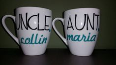 Uncle and/or Aunt Customized Mugs; Uncle/Aunt Gift, Uncle/Aunt to Be; Pregnancy Reveal Gift/Present; New Baby Arrival; Sibling Present