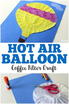 Make this simple coffee filter hot air balloon craft with the kids for some easy crafting fun! via @lookwerelearn
