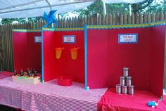 """Palmer's County Fair   CatchMyParty.com I like the idea of presentation boards to separate the """"booths"""""""