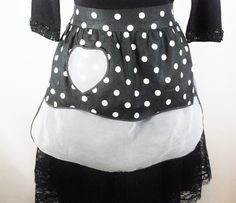Vintage Reversible Black and White Polka Dot Cocktail Apron-1960's by BichenVintage on Etsy