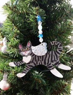 Tabby Cat Angel Ornament ~ Hand Made Clay Christmas Cat Angel ~Tiger Stripe Cat