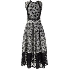 Sophie Theallet flared mix pattern dress ($4,220) ❤ liked on Polyvore featuring dresses, black, round neck sleeveless dress, flared dresses, circle skirt, mixed print dress and sleeveless dress